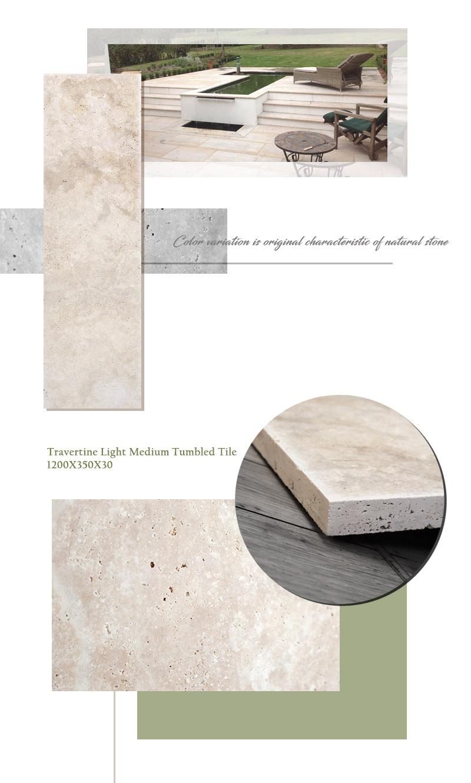 Travertine Light Medium Tumbled 1200x350x30 02