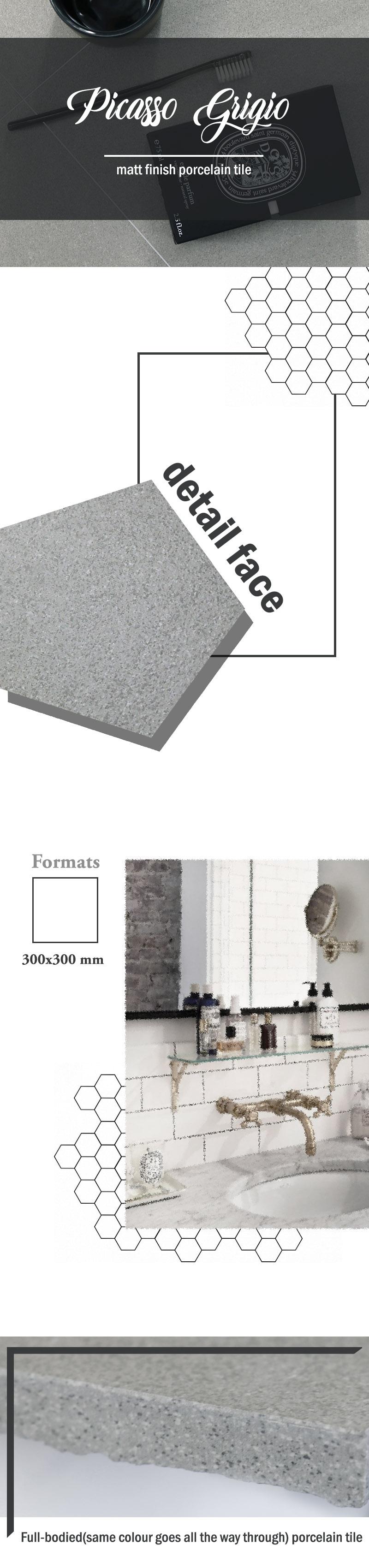 Picasso grigio matt 3x3 web page